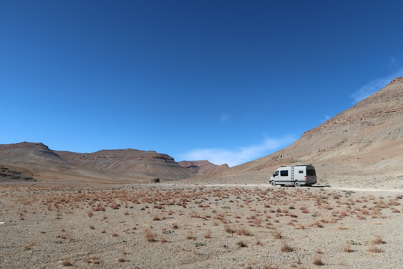High Altas Mountains, Morocco, Africa (overlanding dirt road R704 im our Sprinter Van)