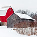 Farm with Red Buildings in Winter