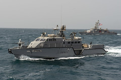 A Mark VI patrol boat participates in a joint underway in the Arabian Gulf, March 9.