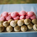 Colorful macarons closeup.