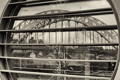 Newcastle upon Tyne: High Level Bridge reflected in a window of The Sage
