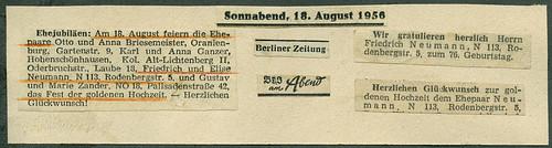 ArchivTappenV612 Goldene Hochzeit, Berlin, 18. August 1956