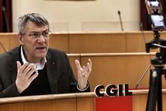 Conferenza stampa in diretta Facebook del segretario generale della Cgil, Maurizio Landini