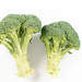 Topv view of Fresh Broccoli above white background