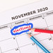 Elections reminder in calendar with red and blue pen
