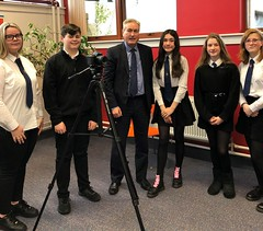 Being interviewed on climate change by Knox Academy pupils
