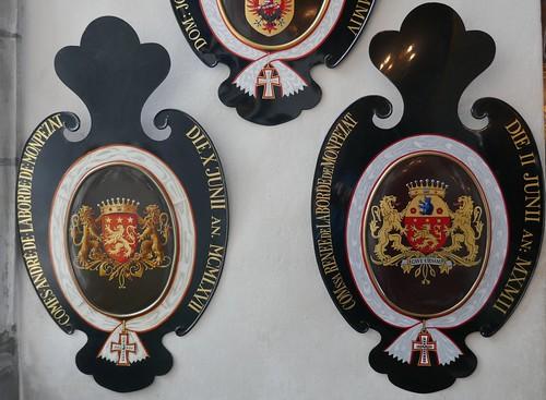 Armes des parents du prince-consort Henrik de Danemark (1934-2018), mari de la reine Margrethe II, chapelle palatine, 1617, château de Frederiksborg (XVIe-XVIIe), Hillerød, Sélande, Danemark