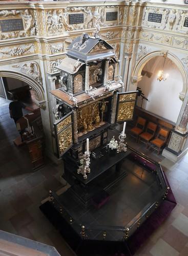 Retable de Jacob Mores, chapelle palatine, 1617, château de Frederiksborg (XVIe-XVIIe), Hillerød, Sélande, Danemark