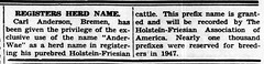 1948 - Carl Anderson registers cattle name - Enquirer - 14 Oct 1948