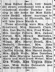 1937 - Kathryn Bedell bridal shower - South Bend Tribune - 24 Feb 1937