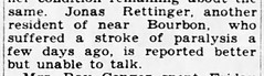 1933 - Jonas Rettinger stroke - South Bend Tribune - 20 Aug 1933