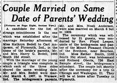 1937 - Carl Anderson marries Kathryn Bedell - South Bend Tribune - 7 Mar 1937
