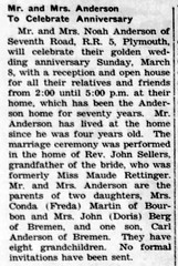 1959 - Noah Anderson 50th anniversary - Enquirer - 5 Mar 1959
