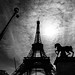 Eiffel Tower backlighted in black and white