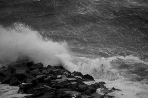 Black storm at sea