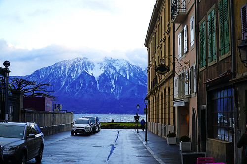 French Alps seen from Rue du Lac, Vevey
