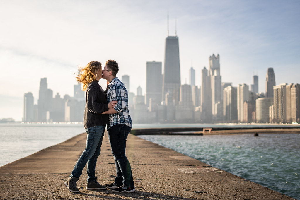 Emma and Stacee's engagement shoot in Chicago's Lincoln Park neighborhood.