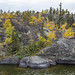 Plutonic rock islands seen from the end of Frame Lake , Yellowknife, Great Slave Lake, NWT