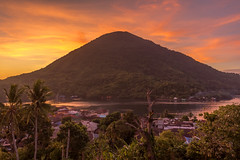 Gunung Api volcano seen from fort Belgica in Banda Neira, Banda islands, central maluku, Indonesia