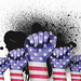 USA raised fist with powder explosion, power, protest concept