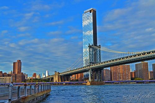 One Manhattan Square Skyscraper & Manhattan Bridge View from Empire Fulton Ferry Park Brooklyn New York City NY P00476 DSC_0035