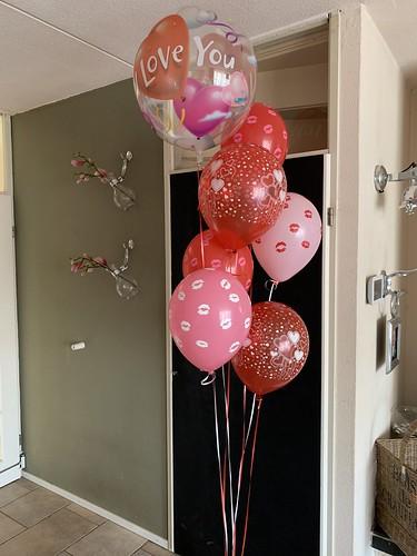 Ballonboeket Roze Rood Liefde Valentijnsdag