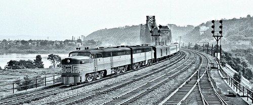 New York Central Train 85 at the west end of the Beaver Bridge, Beaver, PA 9-11-1950