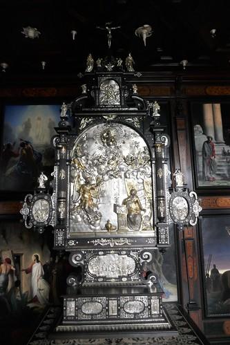 Tabernacle en ébène et argent, chapelle palatine, 1617, château de Frederiksborg (XVIe-XVIIe), Hillerød, Sélande, Danemark