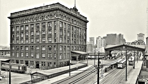 Pittsburgh and Lake Erie Railroad Terminal Building, taken from near East Carson Street and looking north along Smithfield Street to the bridge and Downtown. 1953