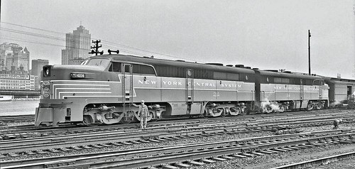engines 4206 and 4205 on Train #85 in Pittsburgh and Lake Erie Railroad Company's Pittsburgh yards. South Side 1949