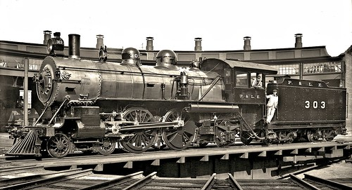 Engine Number 303 on the turntable in McKees Rocks Yards. c1904