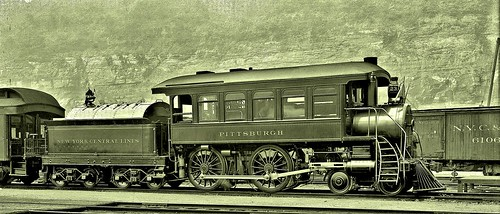 Engine No. 23 on tracks at the station in Pittsburgh. South Shore, Pittsburgh 8-7-1908