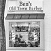 Ben's barbershop in black and white