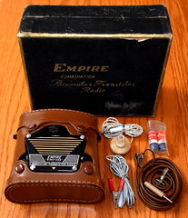 Vintage Empire Binotone Binocular Transistor Radio With Accessories, AM Band, Made In Japan, Circa 1958