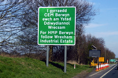 Photo of Bi-lingual Information Sign -  For HMP,  Berwyn, Wrexham.