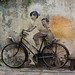 'Kids on a Bicycle' Street Art - George Town, Penang, Malaysia - Feb 2020