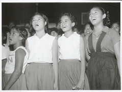 School children singing at the annual Break-up, Rarotonga, 1969