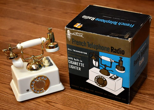 Vintage Audition French Telephone Radio With Built-In Cigarette Lighter, Model 4181, AM Band, 6 Transistors, Sold By Woolworth's, Made In Japan, Circa 1967