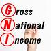 GNI - Gross National Income acronym with marker, concept background