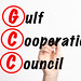 GCC - Gulf Cooperation Council acronym with marker, concept background