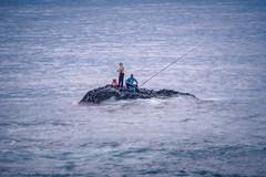 汪洋中的海釣客 Sea fishing men in the sea, East coastine, Taiwan.