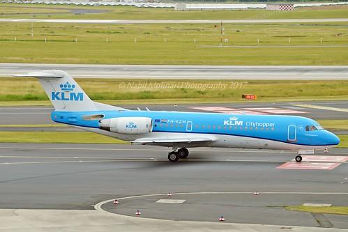 KLM Cityhopper PH-KZM Fokker F70 cn/11561 wfu and std at NWI 28 Oct - 10 Dec 2017 rg 5B-DDB Tus Airways 04 Jan 2018 @ EDDL / DUS 16-06-2017