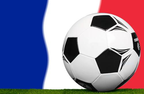 Soccer football ball with flag of France