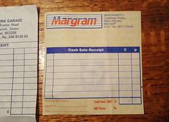 Photo of Margram receipt from Honley Petrol Filling Station,  Honley, West Yorkshire, 1993
