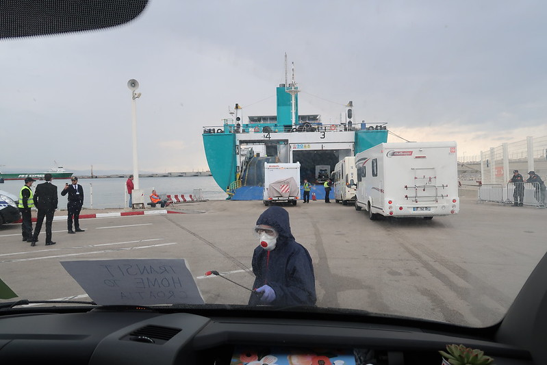 Evacuation ferry from Morocco to France during COVID19.