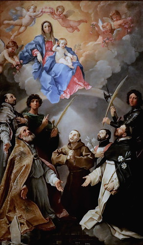 IMG_7989 Guido Reni 1575-1642  Bologna  Vierge à l'Enfant avec Saints Petronio, Florian, Ignace, Francesco Saverio, Procolo,  1630  362x242 Bologna Pinacoteca Nazionale