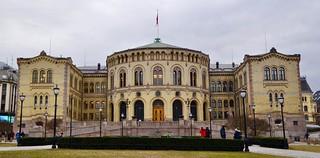 Het Stortinget Parlementsgebouw in Oslo.