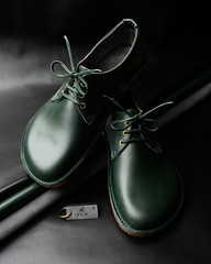 £595. Handmade bespoke shoes made from soft, full grain Italian British Racing Green leather and fully lined in School Grey suede, with hand made British Racing Green Italian leather laces. Signed & dated AL. 2.4.20.