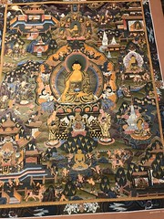 A fabulous Thangka painting depicting the life of the Buddha