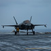 An F-35B Lightning II fighter aircraft prepares to launch from USS America (LHA 6)